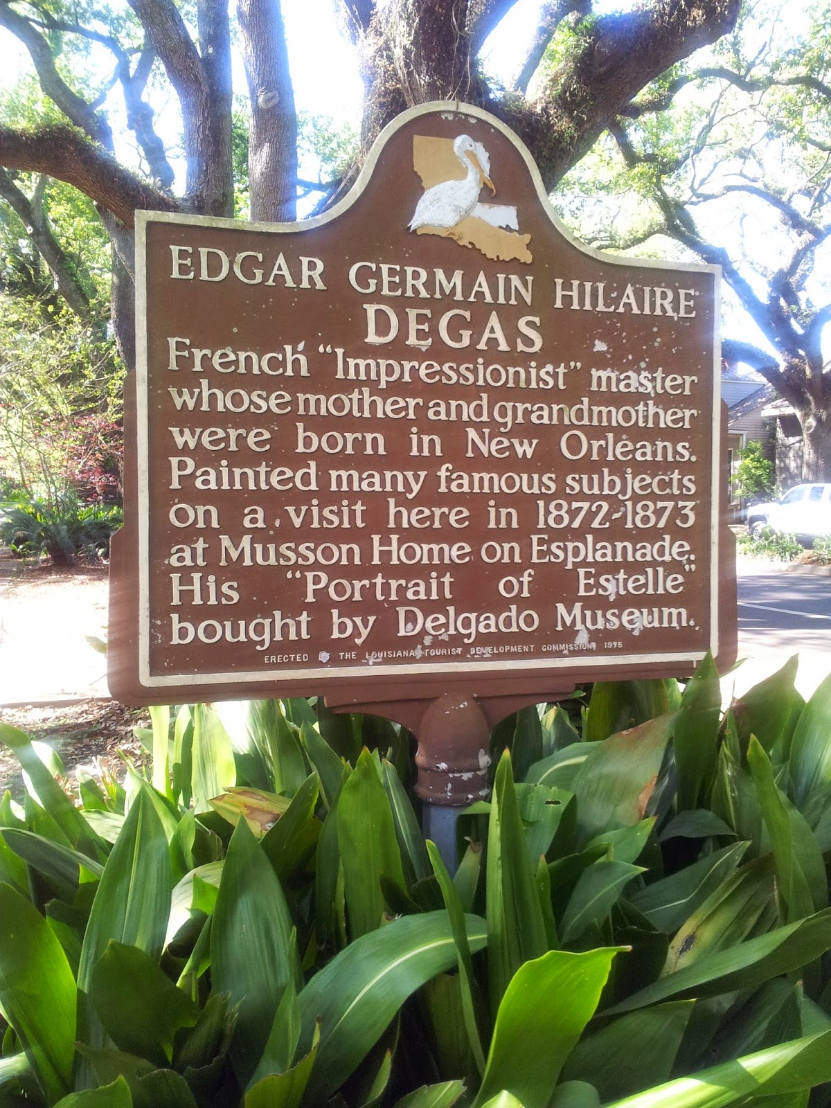Plaque in front of Edgar Degas House, New Orleans