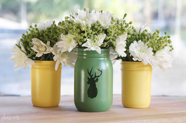 Crafts With Jars Deer Silhouette Painted Mason Jar