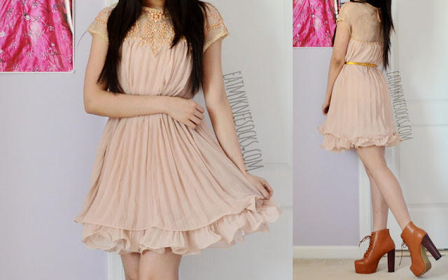 Full outfit photos of this sweet, ulzzang/gyaru-inspired outfit, featuring the light pink/apricot pleated beaded shift dress from SheIn, worn with high-heel brown platform booties.
