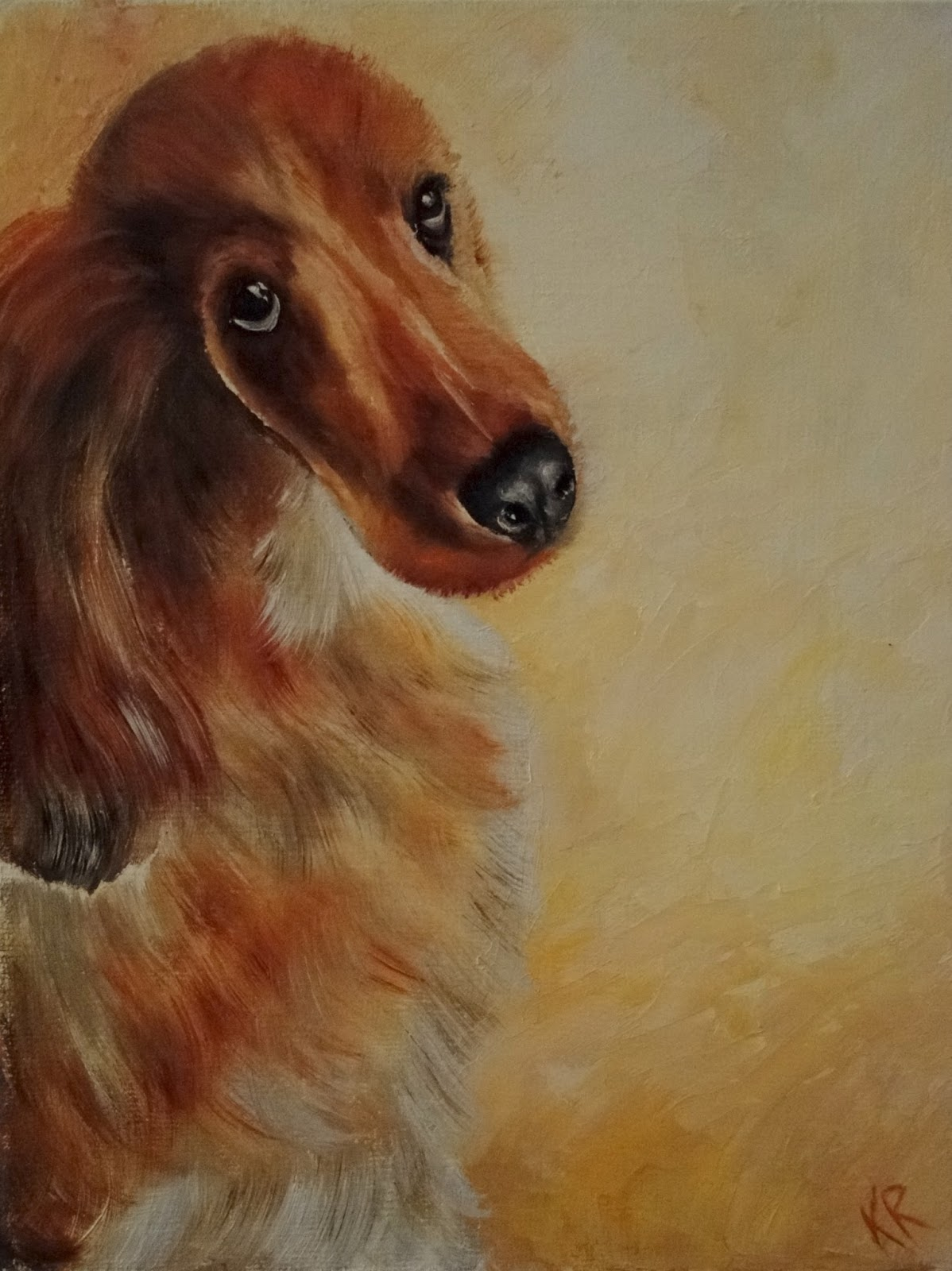 oil painting of a golden spaniel with beseeching eyes. A pet portrait by Karen