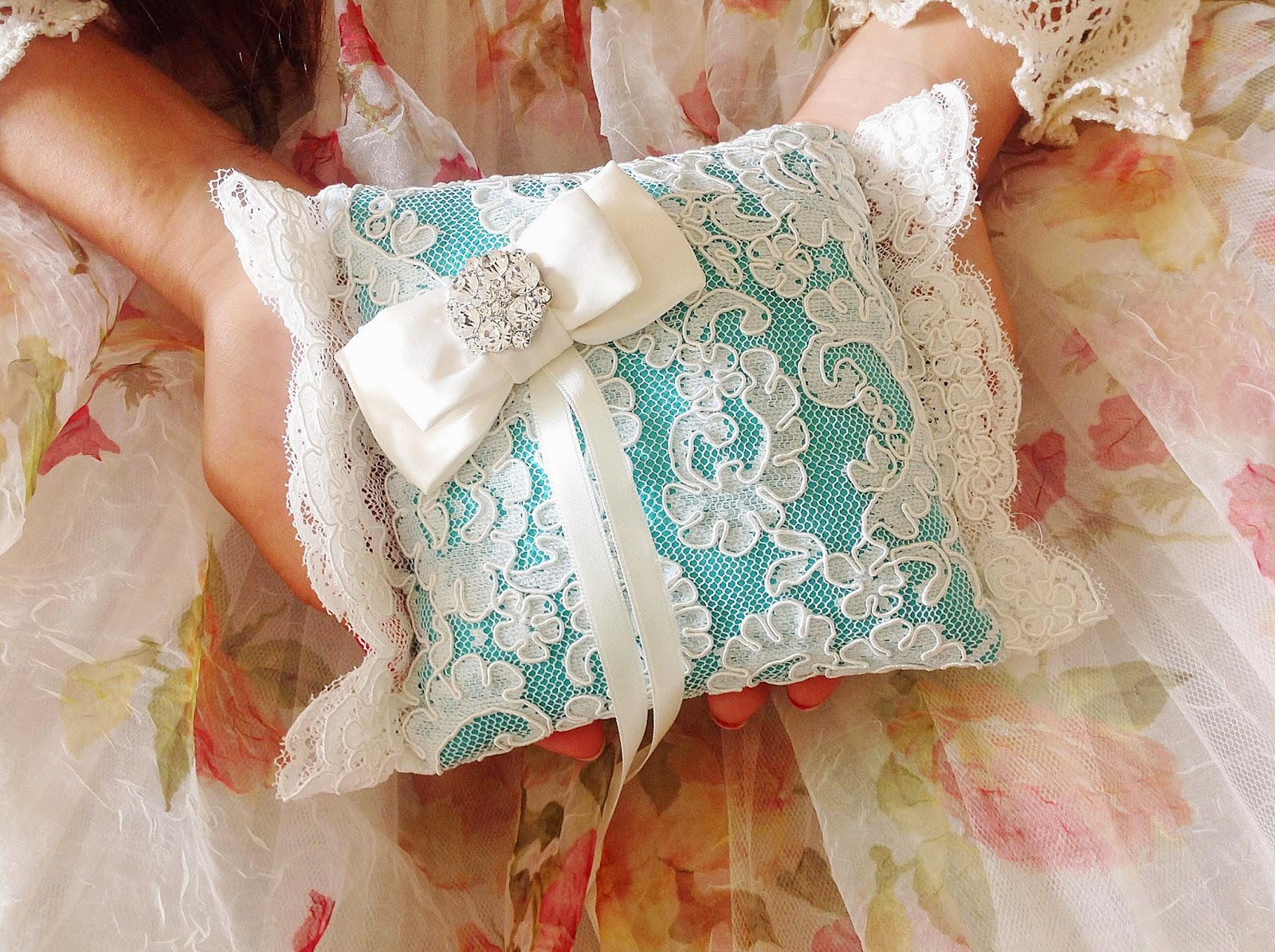 Lace ring bearer pillow blue