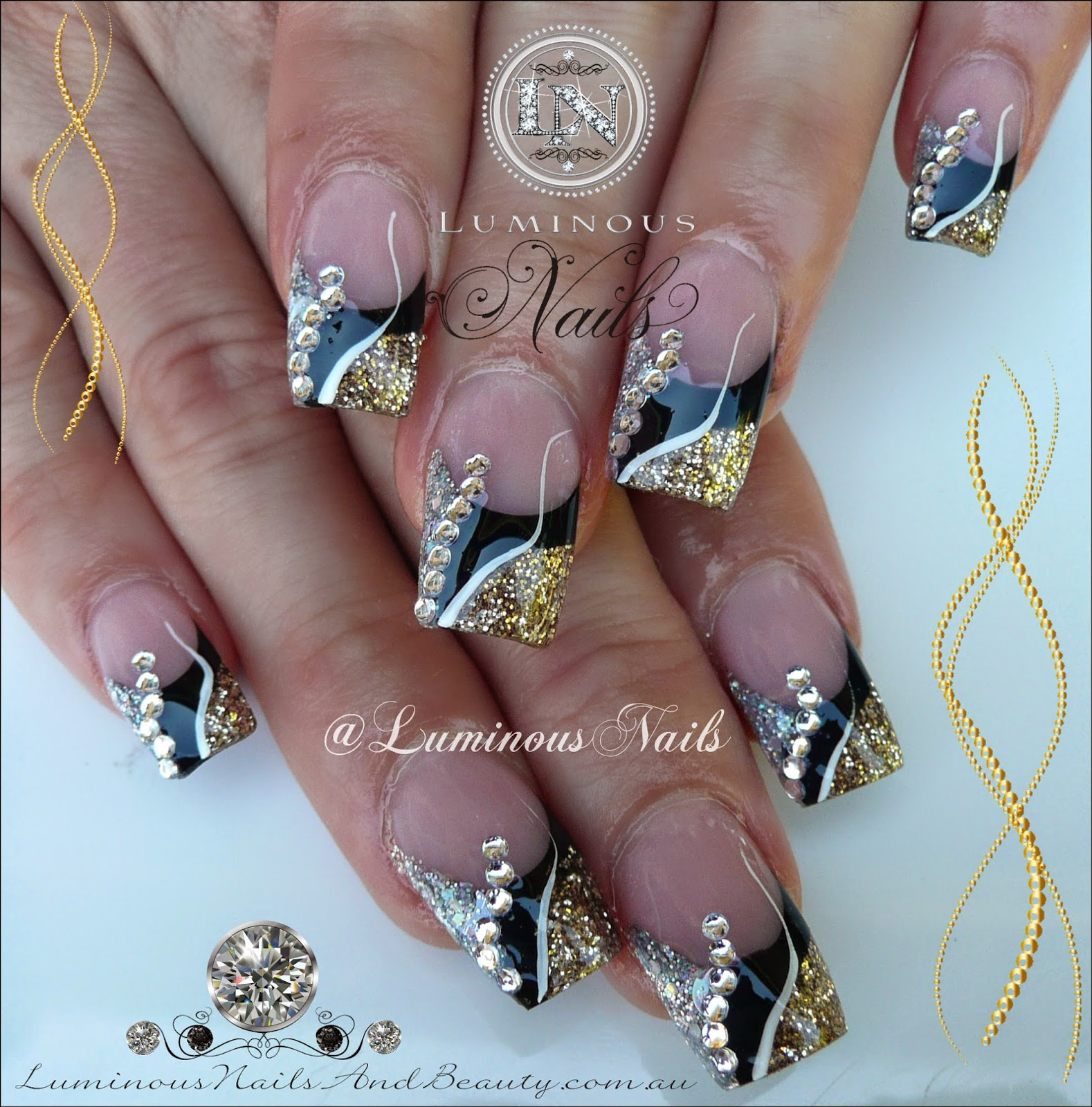 Fine Nail Art Ideas Black And Gold Frieze - Nail Art Ideas ...
