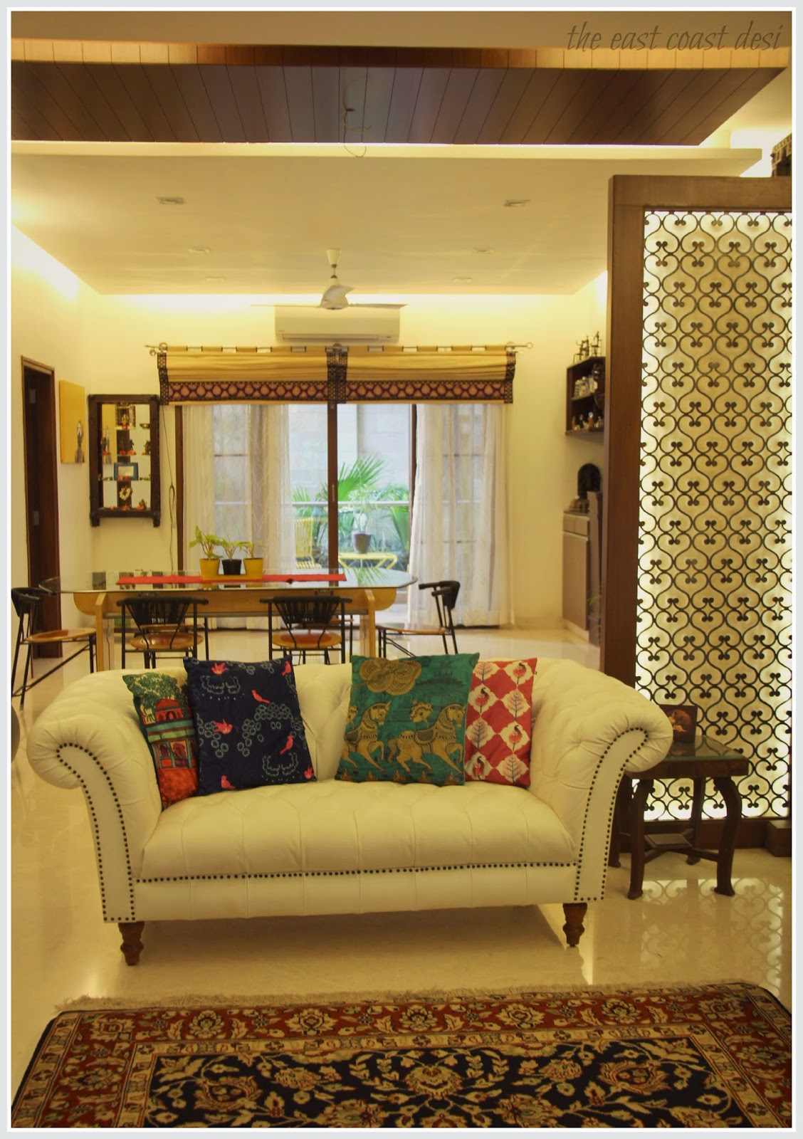 The east coast desi masterful mixing home tour for Living room interior design india