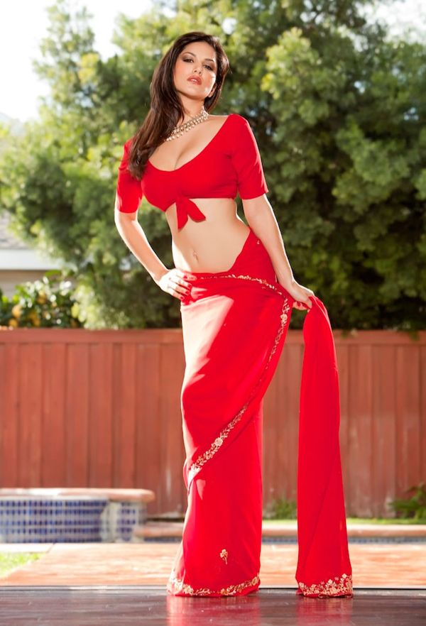 Hollywood Actress Sunny leone's Hot photo in Red silk saree in indian style