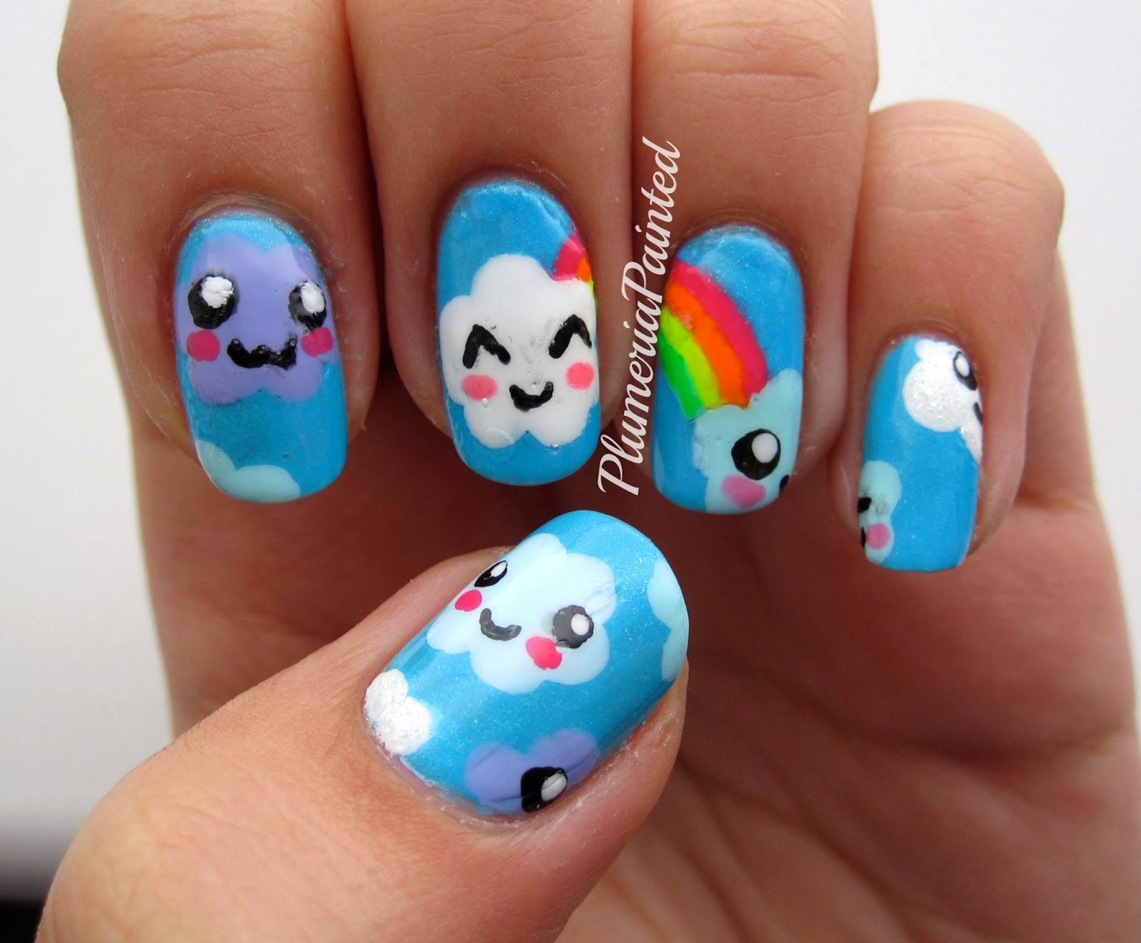 Plumeriapainted Kawaii Cloud Skies Nails