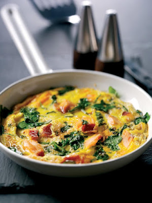 oven baked salmon and watercress frittata