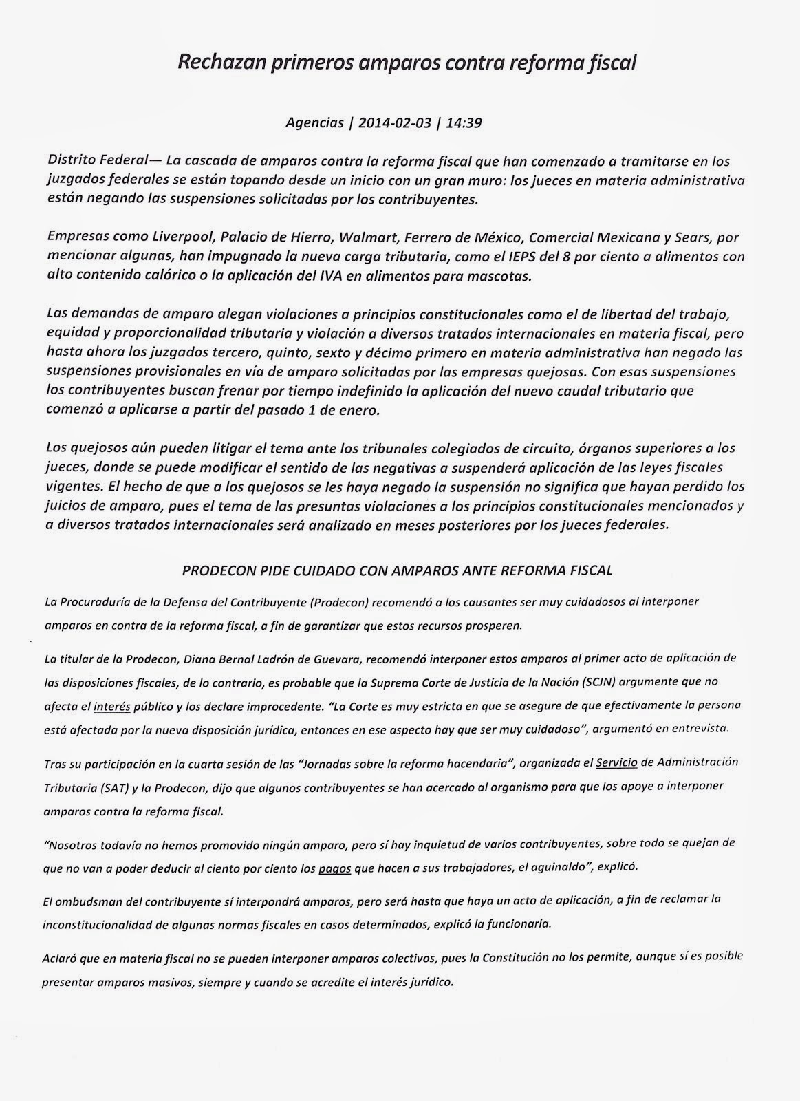 AMPAROS CONTRA EL RÉGIMEN FISCAL