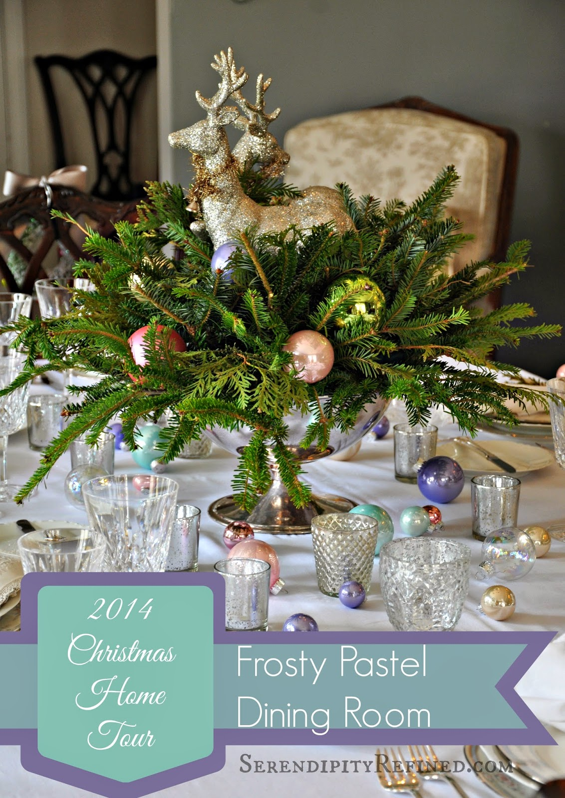 Frosty Pastel Dining Room Christmas Home Tour