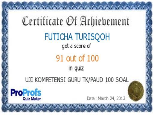 UJI KOMPETENSI GURU TK/PAUD 100 SOAL