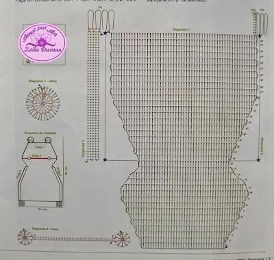 Tapete de crochê infantil em formato de sapo com gráfico
