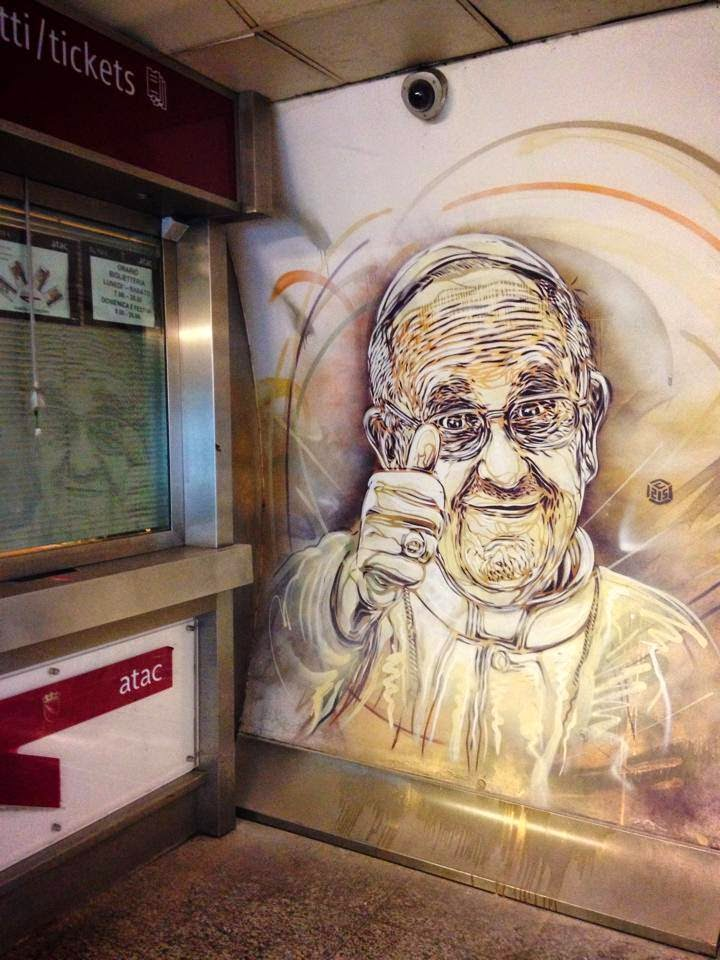 """C215 is also in Rome, Italy where he spent the last few days working on a series of new pieces in the """"Piazza Di Spagna"""" station."""