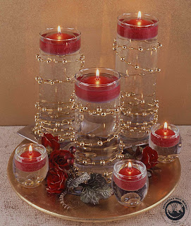 floating round red candles