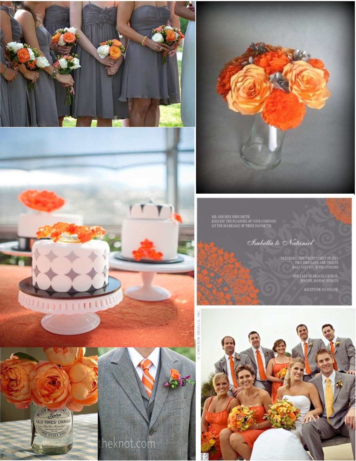 The Bees Times Three Wedding Wednesday Orange and Gray Color Baord