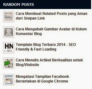Widget Random Posts Blogspot