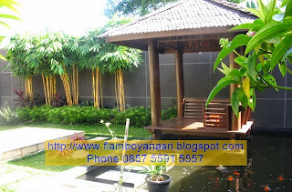 Tukang Taman Surabaya Kolam perpaduan Gazebo