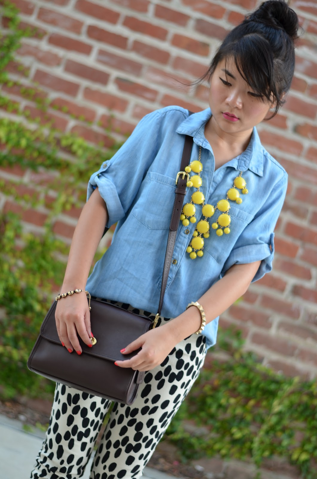 bella dahl chambray shirt, bella dahl jean shirt, j.crew bubble necklace, jcrew bubble necklace, j.crew yellow necklace, jcrew yellow necklace, j.crew yellow bubble necklace, jcrew yellow bubble necklace, coach classic court bag mahogany, coach classic court bag, h&m dalmation pants, attiilio giusti leombruni ballerina flats candy mango, attilio giusti leombruni ballerina flats, agl flats, agl ballerina flats, agl flats candy mango, agl ballerina flats candy mango, agl candy mango