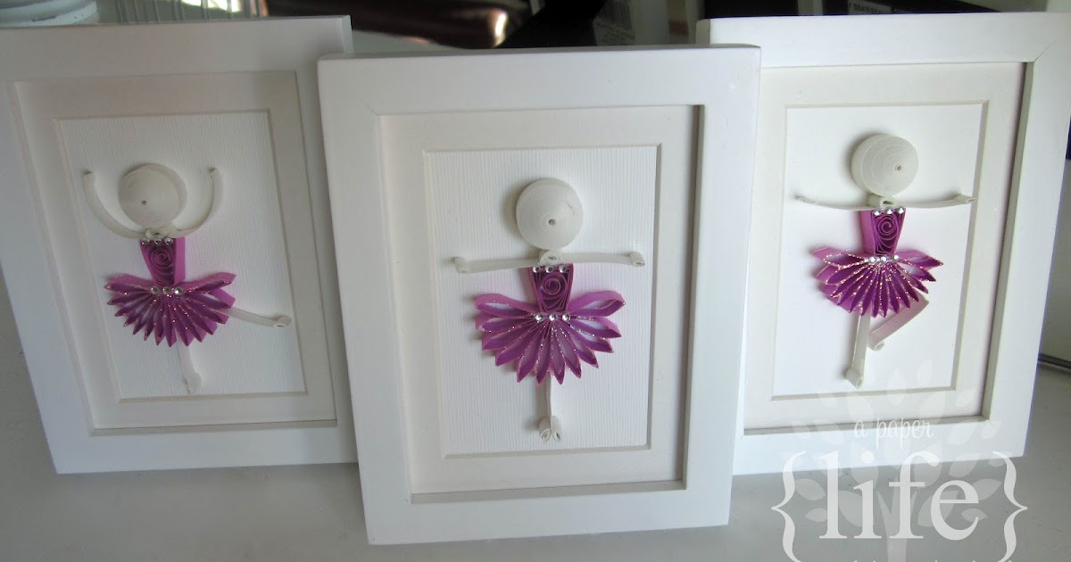 a trio of quilled ballerinas