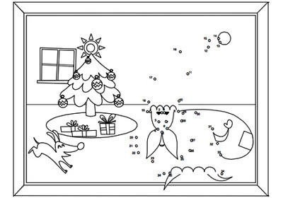 Page 3 - Connect the dots Santa - for Christmas Activity Coloring Book by Robert Aaron Wiley for Microsoft