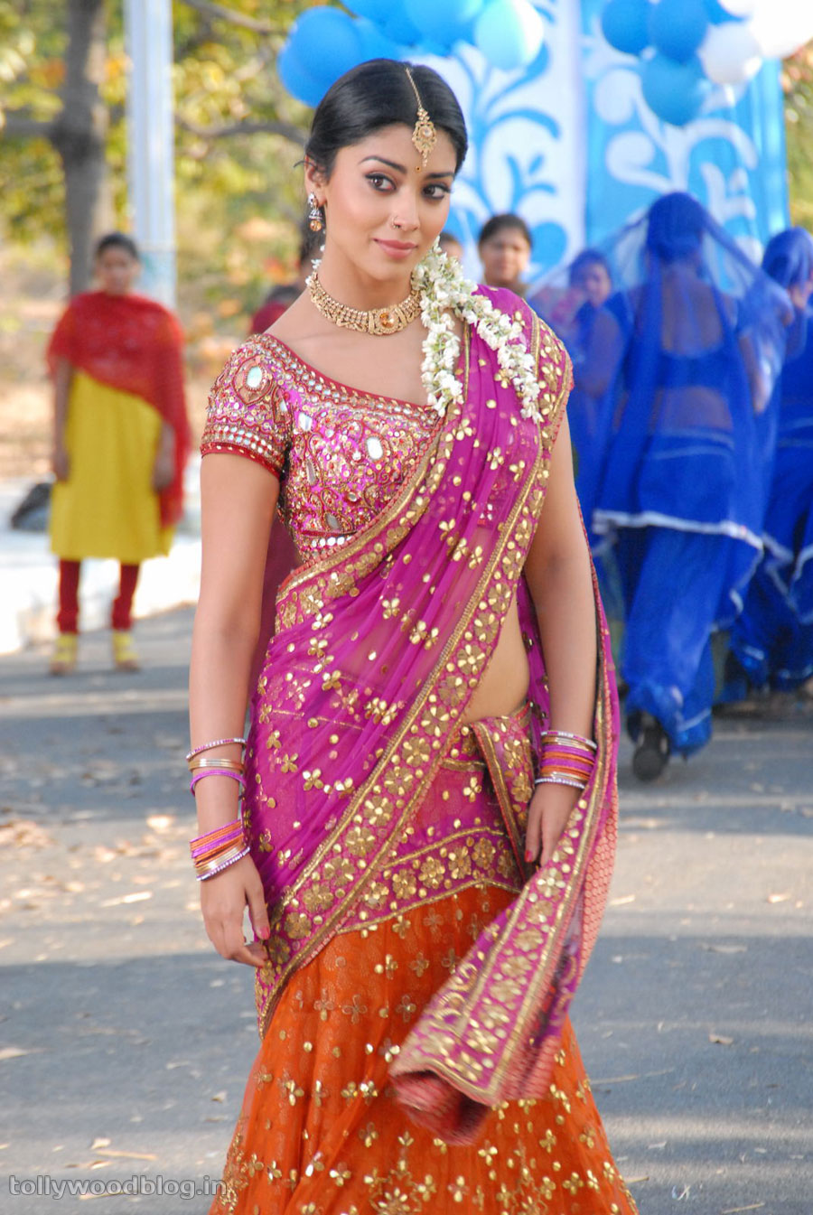 Shriya Saran in Saree Nuvva Nena movie - Shriya Saran Nuvva Nena Saree Wallpaper