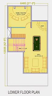 Golf Country, Yamuna Expressway :: Floor Plans,Golf Villa (100 sq. yd.):-Lower Floor Plan Plot Area: 591.91 Sq. Ft.
