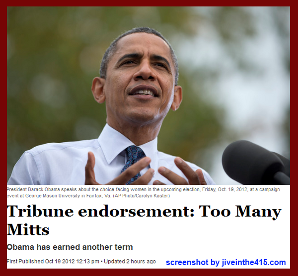 Utah newspaper the Salt Lake Tribune endorses President Obama