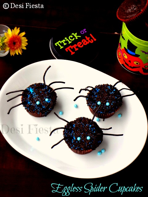 spongy spider cupcakes