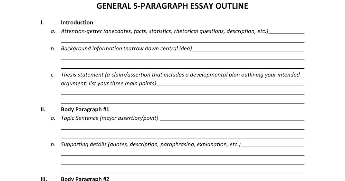 five paragraph essay blank outline Five paragraph essay template learningallyorg to the teacher: use this template as a beginning guide to help students with the writing process this is an ideal.