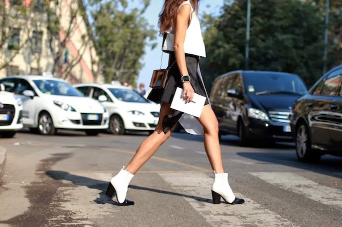 black and white boots