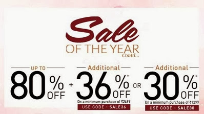 Missing GOSF Sale ? Enjoy Extra 30% Discount on Cart Value of Rs.1299 and Extra 36% Discount on Cart Value of Rs.2499 at Jabong