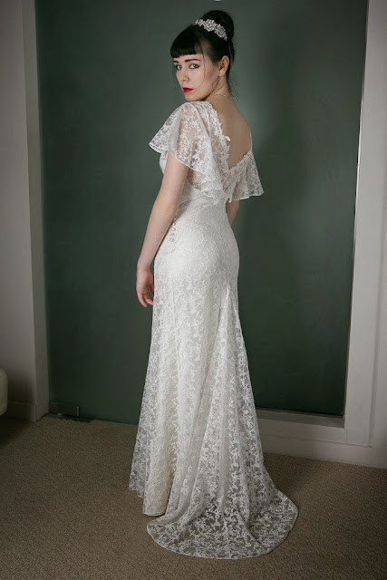 "1930s Vintage Wedding Dress ""ANGEL"" by Heavenly Vintage Brides - amazing lace fishtail skirt train"