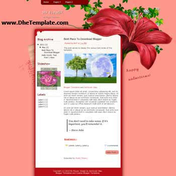 My Flower Blogger Template. beautiful template with flower background