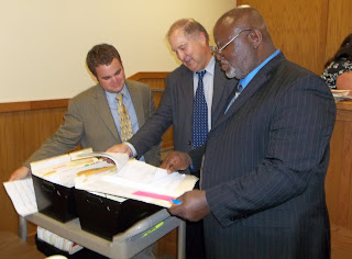 Lange (l) got real life lessons from Austin County DA Travis J. Koehn (center) and Defense Attorney Calvin Garvie (r).