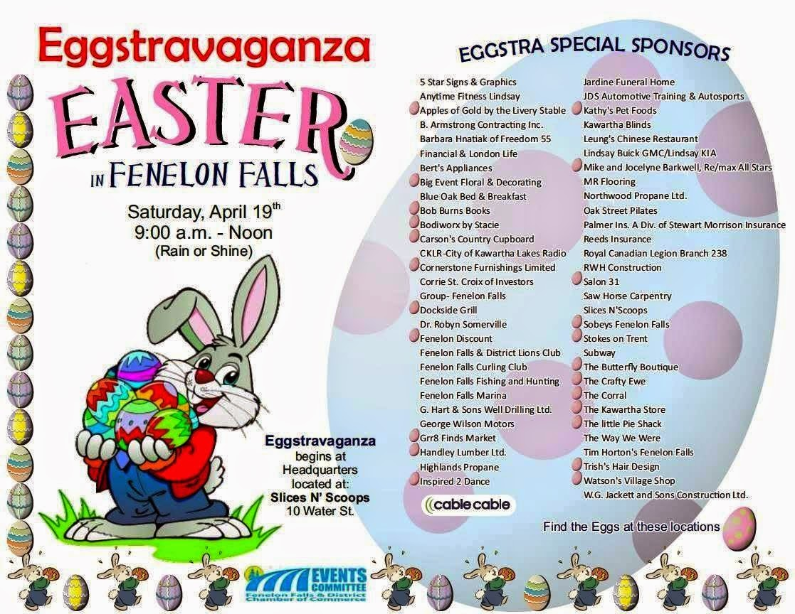Fenelon Falls Easter Eggstravaganza 2014 poster lists sponsors