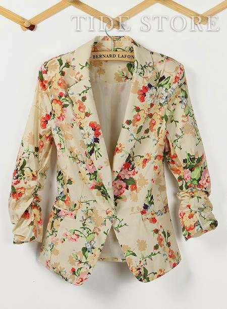 Three-quarter sleeve flower print blazer
