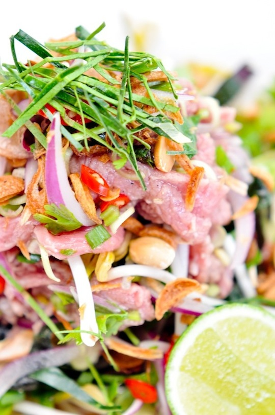 spicy vietnamese salad with cured beef and kaffir lime leaves