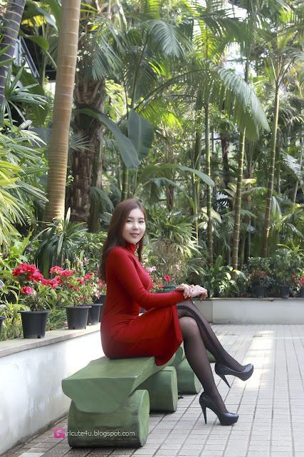3 Kim Ji Na in Red - very cute asian girl - girlcute4u.blogspot.com
