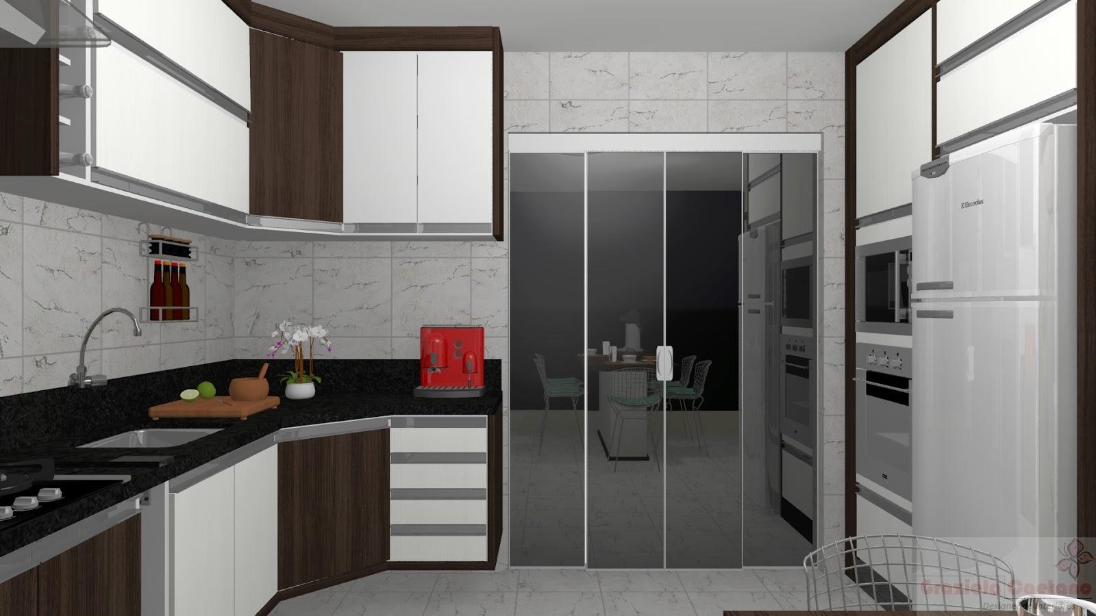 Espaço Nobre Design: Cozinha c/ Mesa de Jantar (Carvalho Francês x  #7B362C 1600 900