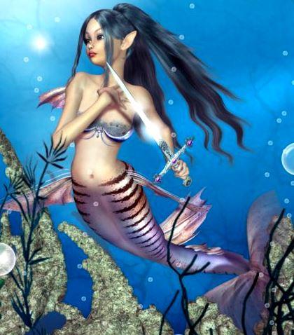 Imagen de una sirena en el mar