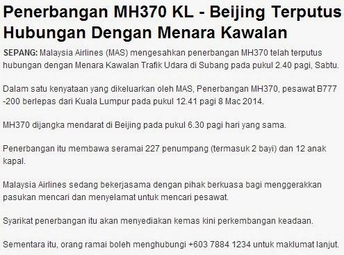 Kapal Terbang MAS dari KL ke Beijing Hilang