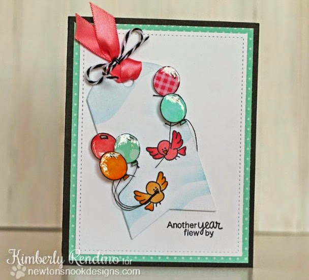 Bird Birthday Card by Kimberly Rendino |  Newton's Birthday Flutter Stamp set by Newton's Nook Designs