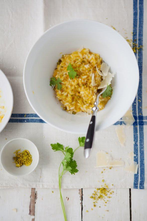 Melissa Clark's butternut squash risotto with pistachios and lemon :