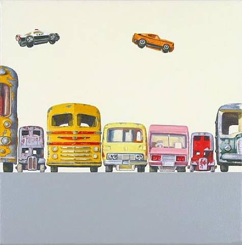 cars,coches,paint,painted,volar,bus,autobus,amarillo,yellow,orange,apilar,torre,Jeremy Dickenson