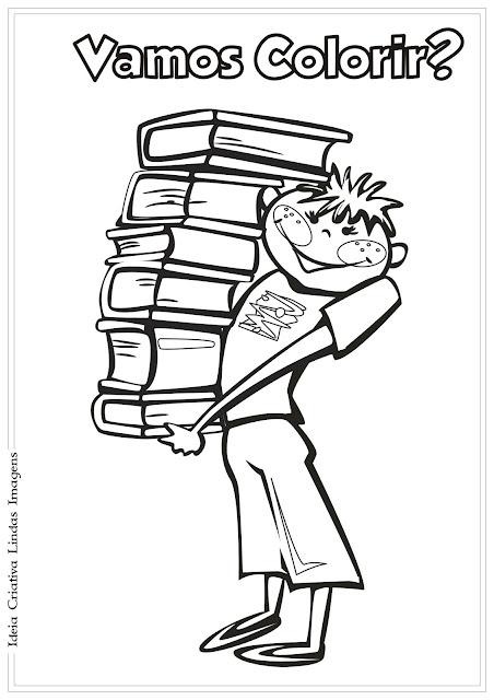 Desenho Dia do Livro Infantil/ Dia do Estudante pra colorir