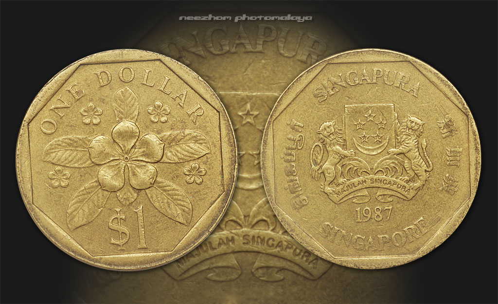 Singapore 1 dollar 1987 coin
