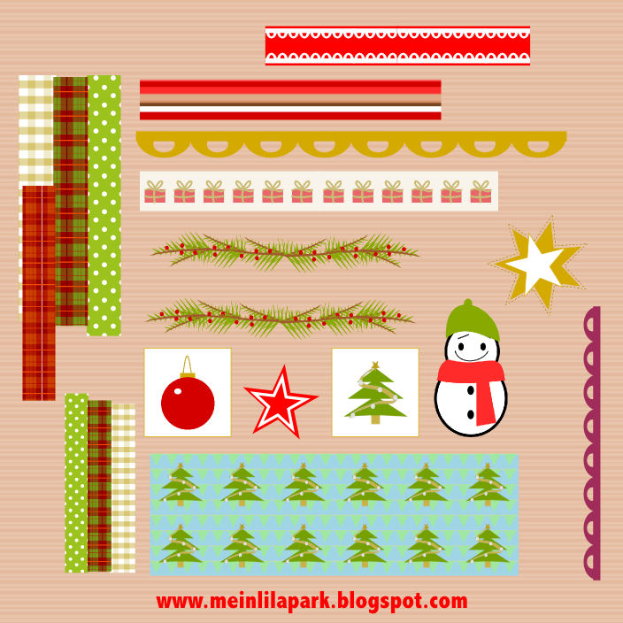 Free digital holiday scrapbooking borders + sticker sheet ...