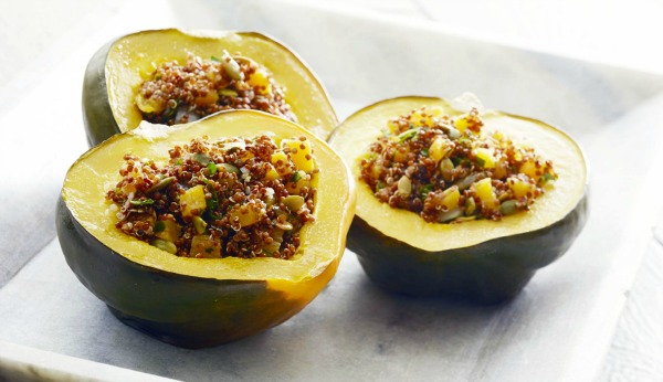Amaranth Stuffed Acorn Squash, the perfect vegan entree for your Thanksgiving dinner