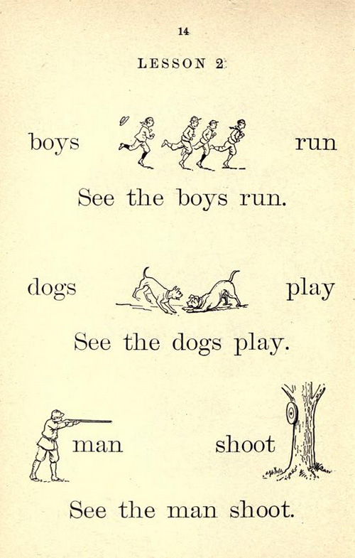 Boys run; see the boys run. Dogs play; see the dogs play.  Man shoot; see the man shoot.