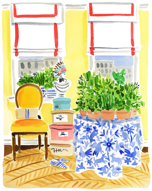 Yellow room watercolor by Caitlin McGauley