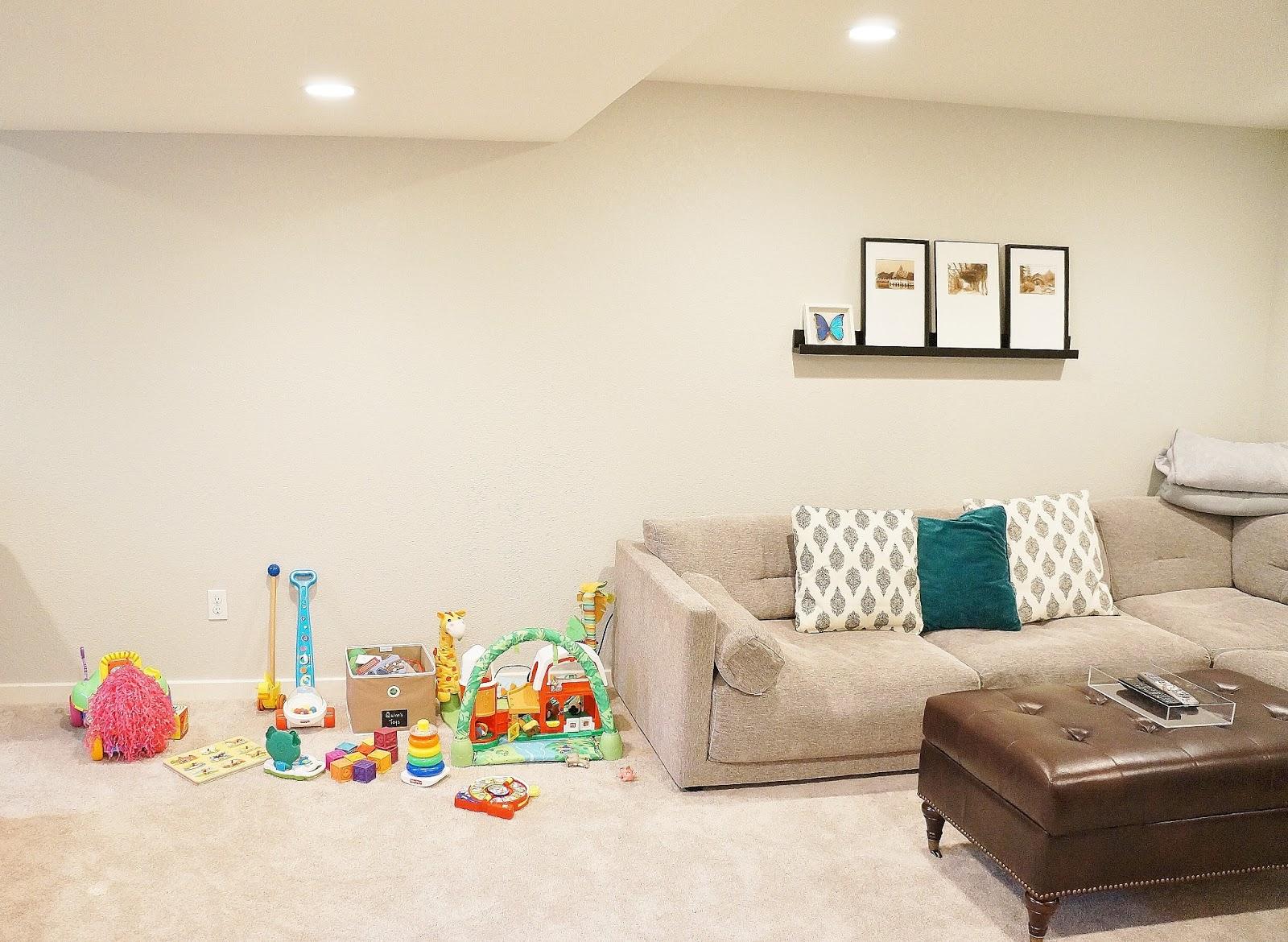 Benjamin moore colors for basement - Basement Family Room Play Area Work In Progress