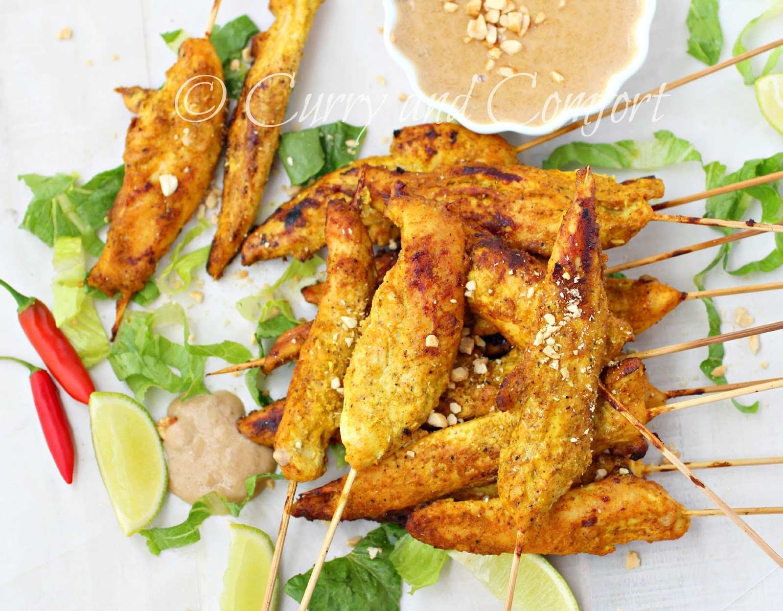... Simmer: Asian Chicken Satay Skewers with Spicy Thai Peanut Sauce
